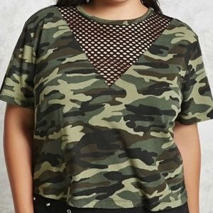 Camo Green Crop Top with Fishnet Detail Size 3X